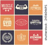 typographic fitness and gym... | Shutterstock .eps vector #245604691