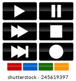 set of multimedia buttons. play ...