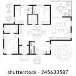black and white floor plan of a ... | Shutterstock .eps vector #245633587