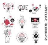 quiz logo emblems labels design ... | Shutterstock .eps vector #245655394