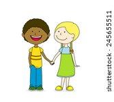 two kids  best friends | Shutterstock .eps vector #245655511