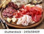 italian salumi meat platter  ... | Shutterstock . vector #245658409