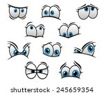 cute cartooned big blue eyes... | Shutterstock .eps vector #245659354