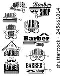 barber shop black emblems and... | Shutterstock .eps vector #245661814