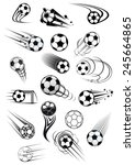 football or soccer balls with... | Shutterstock .eps vector #245664865