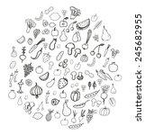 vegetable and fruit doodles   Shutterstock .eps vector #245682955