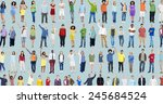 multiethnic casual people... | Shutterstock . vector #245684524