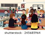 Stock vector a vector illustration of kids eating at the school cafeteria 245685964