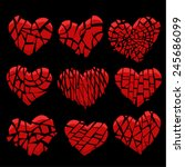 Set Of Red Hearts Broken Into...
