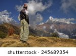 nepali men and mount... | Shutterstock . vector #245689354
