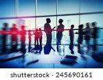 silhouette people meeting... | Shutterstock . vector #245690161