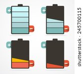 battery life retro flat design...