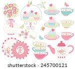 ballet princess tea garden   2 | Shutterstock .eps vector #245700121