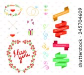 vector wedding set hearts... | Shutterstock .eps vector #245704609
