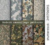 Set Of 8 Modern Camouflage...