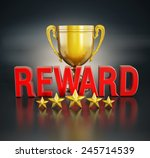reward text  gold cup and five... | Shutterstock . vector #245714539