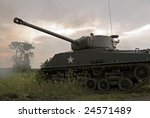 A WWII mark IV Sherman tank moving through hostile terrain during a thunderstorm. Its main gun has just been fired and the smoke is still visible in front of the tree.
