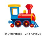 Cartoon Toy Train Vector...
