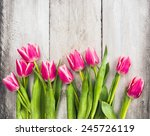 Pink Fresh Tulips Flowers On...