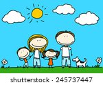 child's drawing of a happy...   Shutterstock . vector #245737447