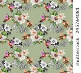 seamless pattern with wild... | Shutterstock . vector #245764081