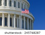 Stock photo us capitol building dome detail with waving national flag washington dc united states of america 245768287