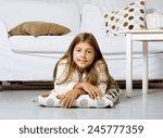 real little cute brunette girl... | Shutterstock . vector #245777359