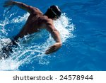 Swimmer In Blue Water. Motion...