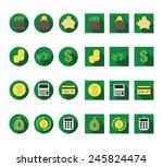 flat monetary vector icons set