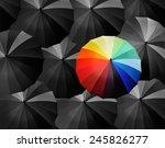 colored umbrellas on a black... | Shutterstock . vector #245826277
