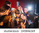 happy friends singing karaoke... | Shutterstock . vector #245846269