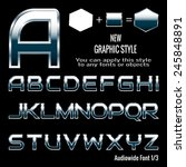 set of chrome letters and... | Shutterstock .eps vector #245848891