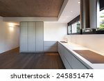 Stock photo architecture modern apartment white domestic kitchen 245851474