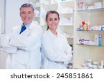 pharmacist with his trainee...   Shutterstock . vector #245851861