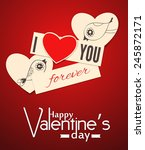 two paper hearts with hand  ... | Shutterstock .eps vector #245872171