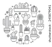 linear design  potted cactus.... | Shutterstock .eps vector #245879041