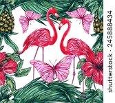 beautiful seamless exotic... | Shutterstock .eps vector #245888434
