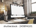 stylish workspace with computer ... | Shutterstock . vector #245894101
