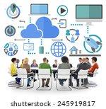 brainstorming sharing online... | Shutterstock . vector #245919817