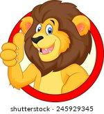 cute cartoon lion giving thumb...