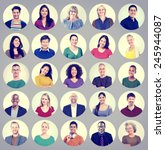 people faces portrait... | Shutterstock . vector #245944087