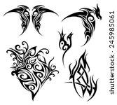 vector set of tribal tattoo.... | Shutterstock .eps vector #245985061
