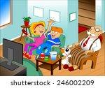 grandchildren  grandparents... | Shutterstock .eps vector #246002209
