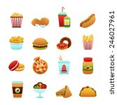 Fast Food Icon Set With Donut...