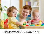 kids and mother play colorful... | Shutterstock . vector #246078271