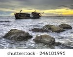 Ship Wrecked At Sunset In...
