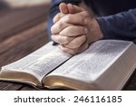 man reading from the holy bible ... | Shutterstock . vector #246116185