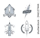 set of vector rocket labels | Shutterstock .eps vector #246127444