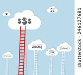 ledder to cloud with business... | Shutterstock . vector #246127681