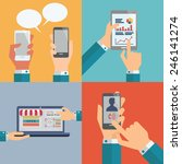 set of smartphone  pc tablet ... | Shutterstock .eps vector #246141274